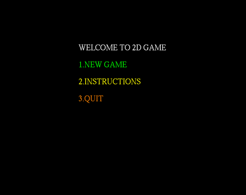 2D Game Front Screen