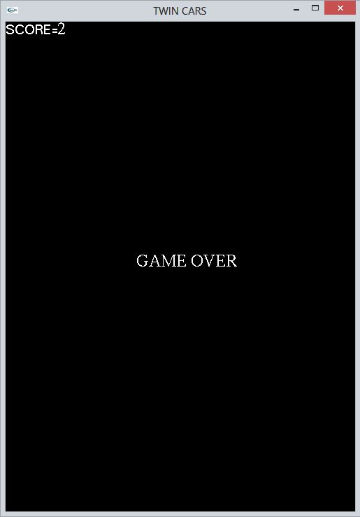 Game Over status of  Twin Cars Computer Graphics Project