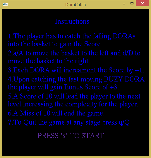 Instruction - Dora Catch Game