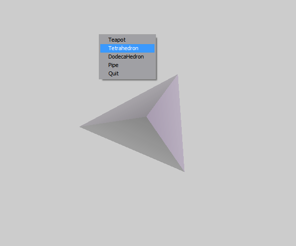 By selecting Tetrahedron from the menu the object is displayed as above